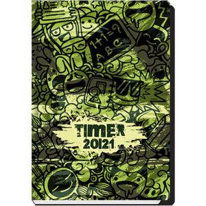 "Schülerkalender ""Schlaue Scribble 21/22"", 14 x 23 cm, 128 Seiten, oliv/grün"
