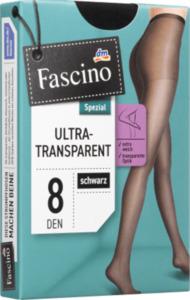 Fascino Strumpfhose ultra transparent 8 den, Gr. 38/40, schwarz