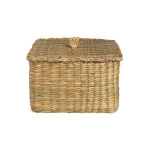 Aufbewahrungskorb aus Seegras mit Deckel