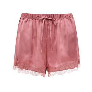 Rosa Satin-Shorts mit Spitze