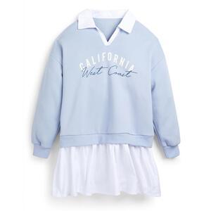 Blaues 2-in-1-Pulloverkleid (Teeny Girls)