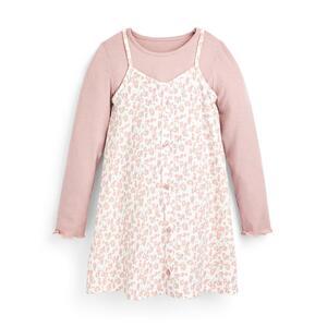 Rosafarbenes 2-in-1-Kleid mit Blumenmuster (kleine Mädchen)