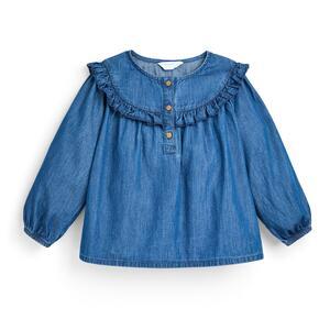 Blaue Jeansbluse mit Rüschen (kleine Mädchen)