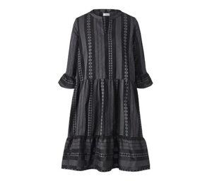 Webkleid mit Ikat-Muster, schwarz