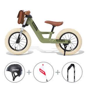 BERG Laufrad Biky Retro Grün mit allem Biky-Zubehör