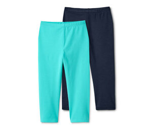 2 Leggings in 3/4-Länge, dunkelblau und mint