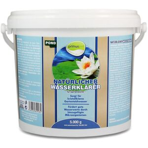 primuspet Natürlicher Gartenteich Wasserklärer (Bindet kleinste Schmutzpartikel, kristallklares Wasser, entfernt Trübungen im Gartenteich) 5 kg