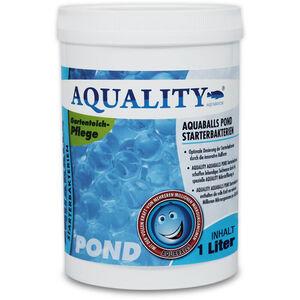 AQUALITY Gartenteich AQUABALLS Starterbakterien (Optimale Dosierung - Millionen effektive Mikroorganismen und nützliche Starterbakterien) 1 Liter
