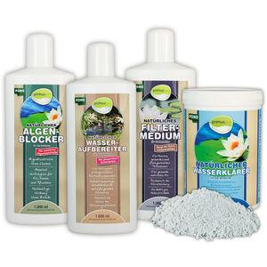 primuspet Natürliches Gartenteich Wasserpflege Sparset (4er Sparset: Wasseraufbereiter, Algen-Blocker, Filtermedium + GRATIS Wasserklärer) SET 1000