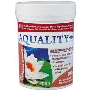 AQUALITY Gartenteich DRY Mikroorganismen (Hochkonzentrierte Instant-Mikroorganismen, Mineralien, Enzyme, Abbau Schadstoffe, 100% natürlich) 200 g