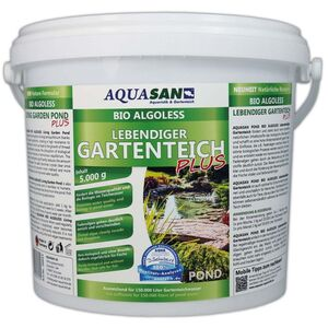 Aquasan Aquaristik&gartenteich - AQUASAN BIO-ALGOLESS Lebendiger Gartenteich PLUS (Fördert die Wasserqualität, reduziert Schadstoffe und Fadenalgen,