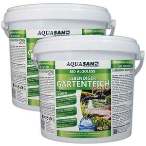 AQUASAN BIO-ALGOLESS Lebendiger Gartenteich PLUS (Fördert die Wasserqualität, reduziert Schadstoffe und Fadenalgen, Schwimmteiche, Teiche,