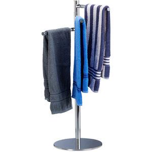 Handtuchhalter freistehend, Handtuchständer mit 3 schwenkbaren Armen, Edelstahl, HxBxT: 90x52x30,5cm, silber