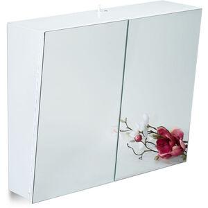 Relaxdays - Zweitüriger Spiegelschrank Bad, Hängeschrank, Badspiegelschrank mit Steckdose, Stahl, HBT 50 x 60 x 18cm, weiß