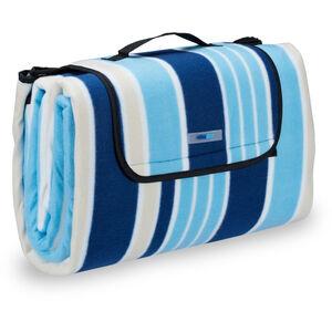 Relaxdays - Picknickdecke XXL, 200 x 200 cm, Fleece Stranddecke, wärmeisoliert, wasserdicht, mit Tragegriff, blau-weiß