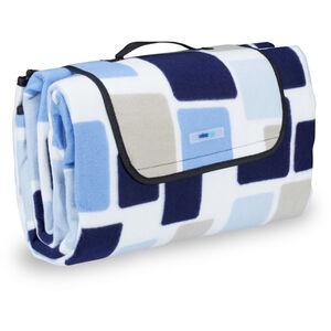 Relaxdays - Picknickdecke XXL, 200 x 200 cm, wärmeisoliert, faltbare Stranddecke, wasserdicht, mit Tragegriff, blau-beige
