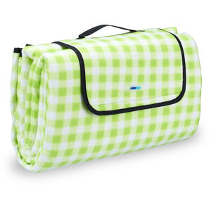 Picknickdecke XXL, 200 x 200 cm, Fleece Stranddecke, wärmeisoliert, wasserdicht, mit Tragegriff, grün-weiß