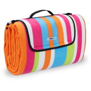 Relaxdays - Picknickdecke XXL, 200x200 cm, Fleece Stranddecke, wärmeisoliert, wasserdicht, mit Tragegriff, bunt gestreift