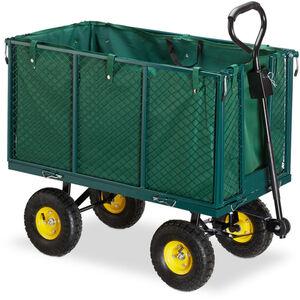 Relaxdays - Gartenwagen, großer Bollerwagen mit klappabren Seitenteilen, herausnehmbare Plane mit Griffen, bis 500kg, grün