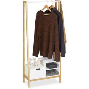 Garderobenständer mit Ablagen, Schublade, Kleiderstange, Bambus & MDF, HxBxT: 139,5 x 64,5 x 31 cm, natur-weiß