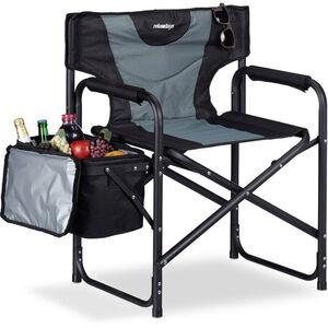Relaxdays - Regiestuhl, klappbarer Campingstuhl mit Kühltasche, ideal für Garten, Festival & Angeln, 110 kg, schwarz-grau
