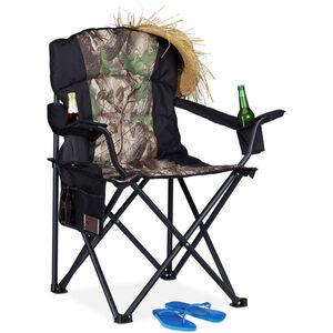 Campingstuhl, klappbarer Anglerstuhl mit 2 Getränkehaltern & Seitentasche, tragbar, bis 113 kg, schwarz-grün