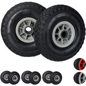 8 x Sackkarrenrad, 3.00-4, luftbereift, Ersatzrad Kunststofffelge, 260x85 mm, Ø Achse 25mm, Komplettrad, schwarz-grau
