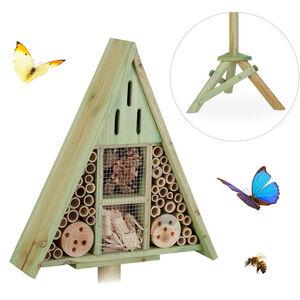Relaxdays - Insektenhotel Dreieck auf Ständer, Nisthilfe für Garten, Bienenhotel Wildbienen, Holz, HBT: 130x42x35cm, grün