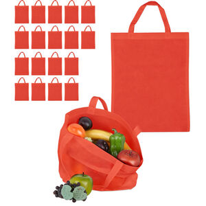 Relaxdays - 20 x Stoffbeutel, unbedruckt, zum Einkaufen, kurze Henkel, große Einkaufsbeutel H x B: 49,5 x 40 cm, Stofftasche, rot