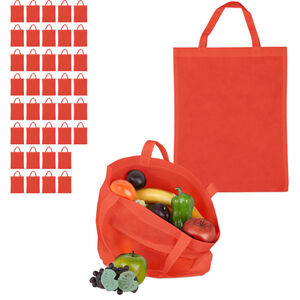 Relaxdays - 40 x Stoffbeutel, unbedruckt, zum Einkaufen, kurze Henkel, große Einkaufsbeutel H x B: 49,5 x 40 cm, Stofftasche, rot