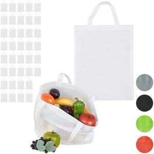 Relaxdays - 40 x Stoffbeutel, unbedruckt, zum Einkaufen, kurze Henkel, große Einkaufsbeutel H x B: 49,5 x 40 cm, Stofftasche, weiß