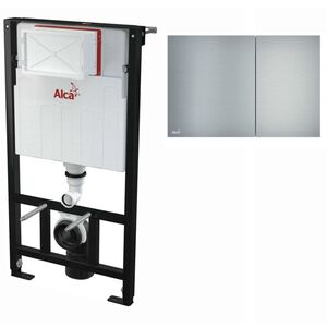 AlcaPlast WC Montageelement zur Wandmontage mit Designer Betätigungsplatte (Serie FLAT): 100cm, AIR (Aluminium)