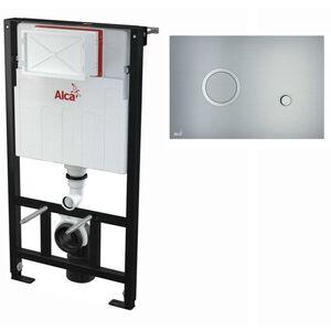 AlcaPlast WC Montageelement zur Wandmontage mit Designer Betätigungsplatte (Serie FLAT): 100cm, STING (Aluminium)