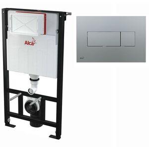 AlcaPlast WC Montageelement zur Wandmontage mit Betätigungsplatte (Serie M37): 100cm, M372 chrom matt