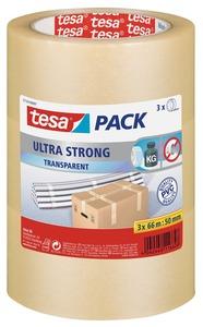 Tesa Packband Ultra Strong, 50 mm  x  66 m, transparent, 3 Stück