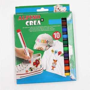 10 x Alpino Crea+ Textilstifte Textilmarker Stoffmalstifte Textilmalstifte bunt