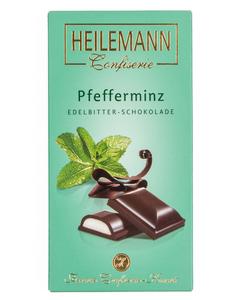 Zartbitter-Schokolade PFEFFERMINZ mit Alkohol von Heilemann, 100g