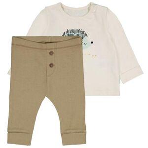 HEMA Newborn-Set, Shirt Mit Leggings, Elastische Baumwolle Beige