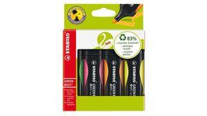 STABILO® Umweltfreundlicher Textmarker - STABILO GREEN BOSS - 4er Pack - grün, rosa, orange, gelb