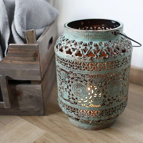 Metall-Laterne Oriental 18x25cm Antik-Grün