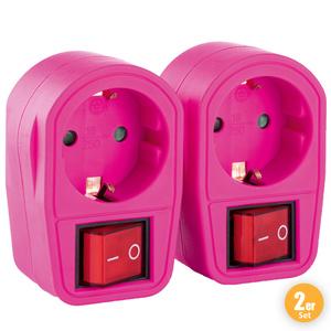 """Powertec Electric Zwischenstecker """"Color Line"""", Rosa - 2er-Set"""