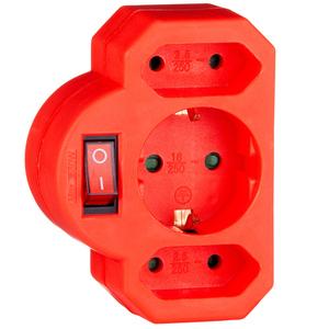 "Powertec Electric 3-fach Zwischenstecker ""Color Line"", Rot"