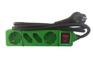 """Powertec Electric 4-fach Steckdosenleiste """"Color Line"""", Grün"""