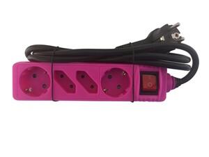 """Powertec Electric 4-fach Steckdosenleiste """"Color Line"""", Rosa"""