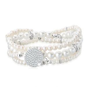 Elli Perlenarmband Set Layering Synthetische Perlen 925 Silber