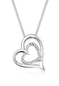 Diamore Collierkettchen Herz Liebes Diamant (0.015 ct.) 925 Silber