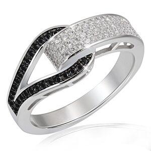goldmaid Silberring, 925/- Silber 79 Zirkonia schwarz/weiße