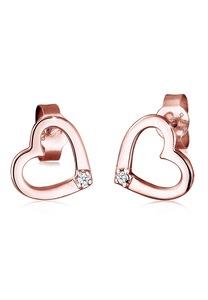 Diamore Paar Ohrstecker Herz Liebe Diamant (0.03 ct) 925 Silber