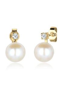 Diamore Paar Ohrstecker Perle Elegant Diamant (0.06 ct.) 585 Gelbgold