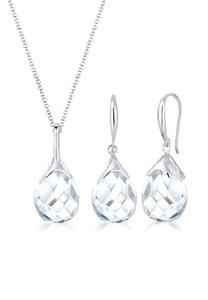 Elli Schmuckset Tropfen Bergkristall Klassik 925 Sterling Silber